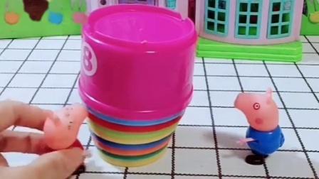 乔治看到小果冻就想吃,佩奇拿小盒子摞高高,聪明的佩奇成功取到果冻!