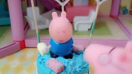 乔治想偷吃蛋糕,把上面的小人弄下去自己冒充,猪爸爸也学习了这招!