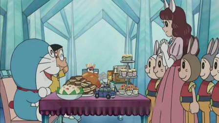 哆啦A梦:大雄帮助兔子星人击退敌人获得一大盆铜锣烧