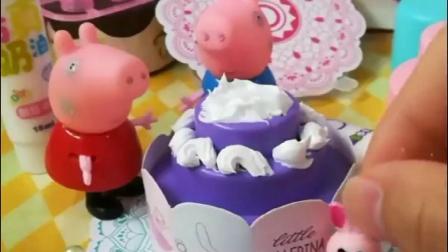 佩奇乔治做生日蛋糕,这蛋糕也太漂亮了,乔治想吃口蛋糕太难了!