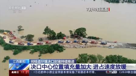 江西鄱阳 问桂道圩堤决口封堵持续推进