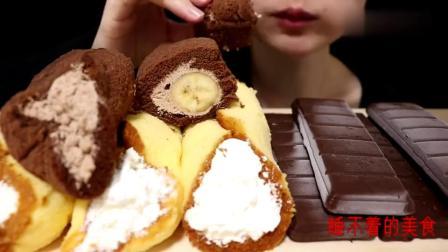 吃播小姐姐吃巧克力冰激凌,吃到嘴里嘎嘣脆,咀嚼声听着好舒适!