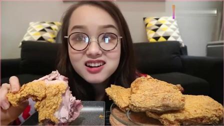 吃播小姐姐哎哟阿尤,在家独食四只香脆炸鸡腿,这吃相太馋人了!