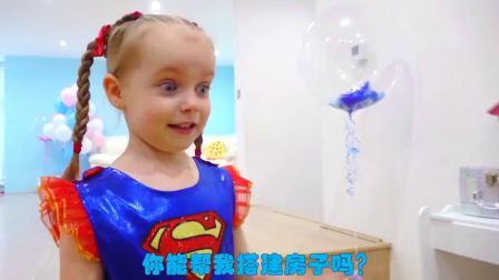 萌娃小可爱成为了一名乐于助人的超级英雄,小家伙真是棒棒哒!萌娃:需要帮忙吗?