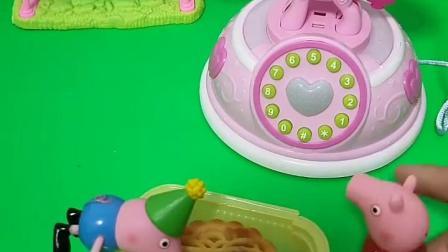 乔治和佩奇吃月饼,他们还接了电话,然后都说无法接通