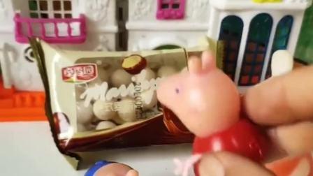 猪妈妈买了巧克力和火腿,不料佩奇乔治都不吃巧克力,想吃火腿