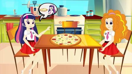 阿坤帮紫悦和艾达琪分披萨 可他怎么分着分着就把披萨给吃光了?小马国女孩游戏.mp4