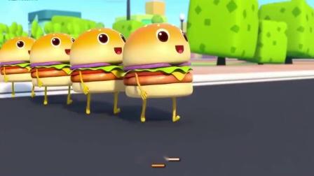 宝宝巴士汉堡掉落车下,四个汉堡很着急,想要追上汽车