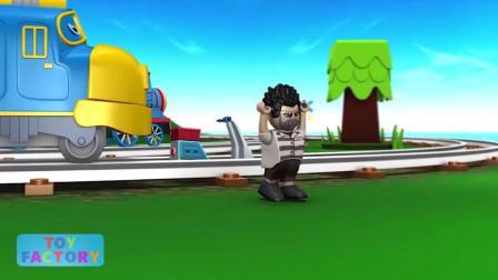 火车小镇托马斯小火车和小黄鸭火车合力抓小偷火车动画片