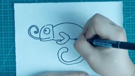 简笔画~吃虫子的壁虎