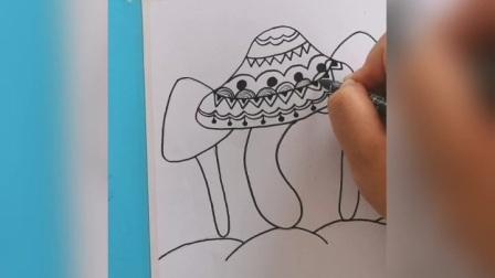 拾光绘画馆 线描《蘑菇》