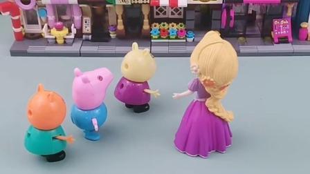 灰姑娘给小朋友们发面包,小朋友们都去领面包了,小猪们也想领面包!
