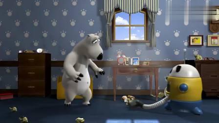 贝肯熊-机器人开始吸尘模式,贝肯放了几个木头结果卡住了