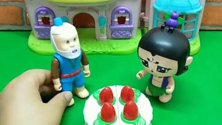 蛇精变成七娃,把七娃的生日蛋糕吃完了,生气的七娃要咋对付蛇精