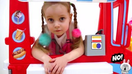 萌娃小可爱出门卖冰淇淋啦!小家伙可真是能干呢!—萌娃:包装袋记得要扔垃圾桶哟!