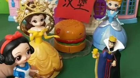 白雪也想吃汉堡,可是王后不给买,聪明的贝儿套路了王后