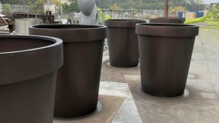 【江苏鑫宇】不锈钢花盆定制上海园林景观圆形烤漆不锈钢花箱花槽