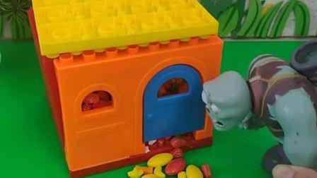 猪爷爷去小房子里拿了很多糖果,僵尸也要去拿糖果,结果糖果被小头爸爸拿走了!