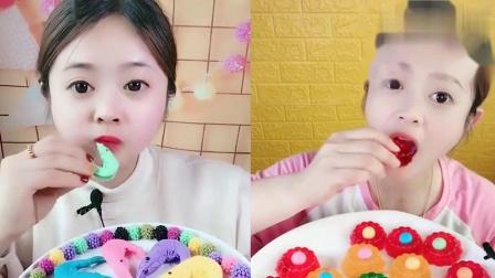 小姐姐直播吃:彩色大虾果冻蛋糕,看着超过瘾