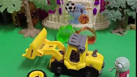 乔治可喜欢玩自己的小铲车了,小强强看到了给拆了,小鬼还打算帮他安上,尴尬了