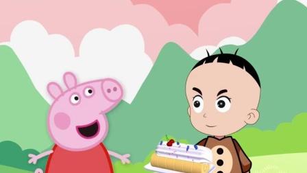 佩奇的蛋糕输给了大头,苏西教佩奇制作蛋糕,佩奇学会了吗?
