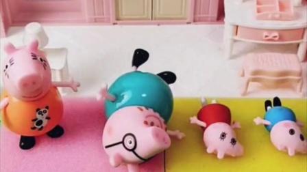 乔治佩奇的床被占了,原来是猪爸爸忘买床了,猪爸爸要睡到外面去了!