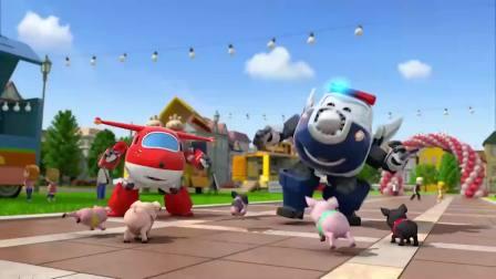 超级飞侠-小猪们都不比赛了,跑到快餐车上把姜饼都给吃光了