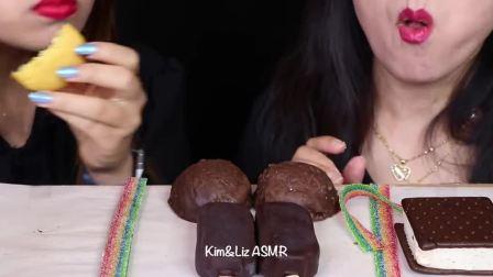 """小姐姐吃播:""""焦糖炸弹蛋糕+奥利奥巧克力慕斯蛋糕+布丁+冰淇淋+酸糖"""",听这咀嚼音,吃货姐妹花吃得真馋人"""
