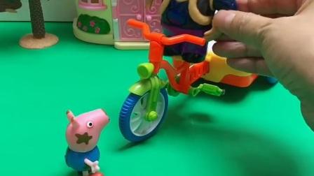 乔治问光头强开着小车去干啥,光头强说要给嘟嘟买好吃的,乔治说他也想要好吃的