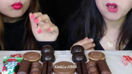 """韩国小姐姐吃播:""""巧克力棉花糖冰淇淋果冻橡皮糖蛋糕棒马卡龙rrchenxir"""