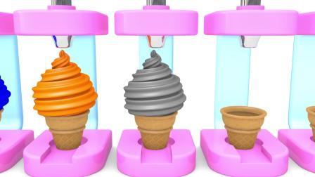 看卡通蛋筒冰淇淋制作过程,学颜色英语,宝宝爱看妈妈放心