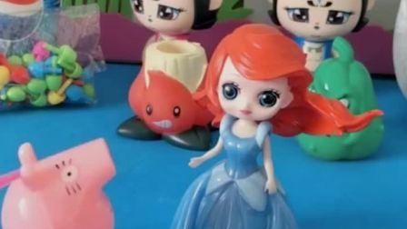 猪爸爸要找白雪公主,天天去问人鱼公主,气得人鱼公主去找锤子了