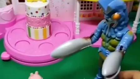 猪妈妈带乔治去超市,遇到了僵尸先生,猪妈妈好厉害呀