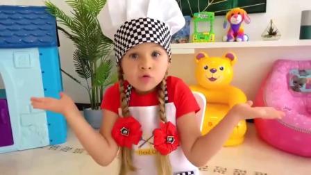 萌娃小可爱:小正太饿了,小萝莉给他做了好吃的热狗面包,味道怎么样呢?亲子益智玩具儿童乐园