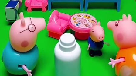 猪妈妈让猪爸爸喝酸奶,乔治要喝,猪妈妈不让乔治喝