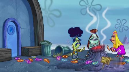 海绵宝宝:蟹老板太黑心了,将垃圾桶里的蟹黄堡捡起来,继续卖!