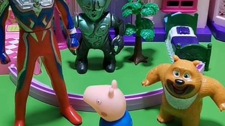 奥特曼把怪兽抓住了,乔治采访奥特曼原因,怪兽说奥特曼在吹牛