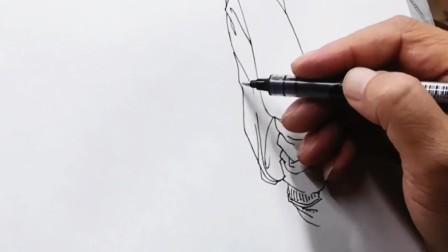 曹志辉钢笔人物速写示范(三)     刘慧画室高考美术培训