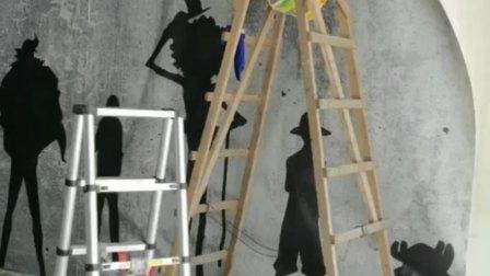 惠州墙纸师傅贴超高壁画