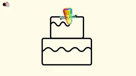 宝宝巴士神奇简笔画 第2季——生日蛋糕,画笔精灵送个特别的蛋糕