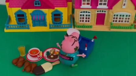 猪爸爸下雨天还不在家,还在外面送外卖呢,猪爸爸真的很辛苦啊!