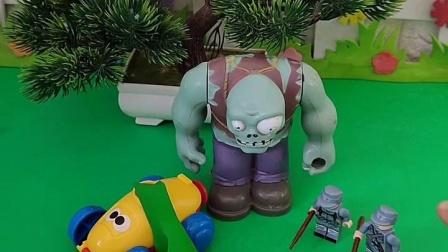 巨人僵尸觉的小汽车不错,就直接开走了,巨人僵尸这么做是不对的!