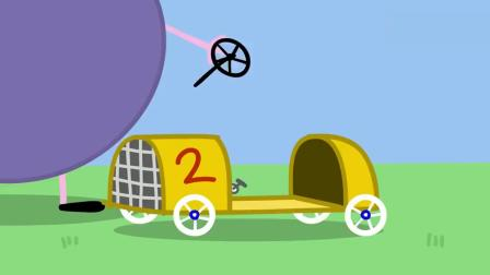 小猪佩奇:猪爷爷给乔治做了个赛车,乔治还参加了比赛,稳得第一.