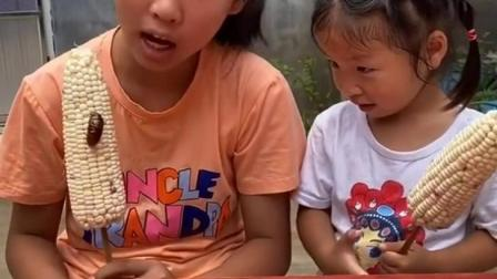 孩童趣事:姐姐怎么敢吃虫子?