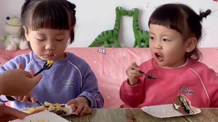 童年趣事:双胞胎不公平分蛋糕