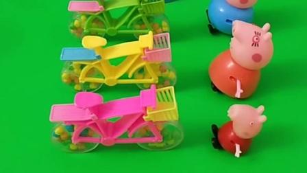 主人给小猪佩奇家发糖果车了,乔治想要玩游戏,乔治玩的什么