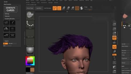 ZBrush实时毛发生成插件 Real-time Hair Plugin