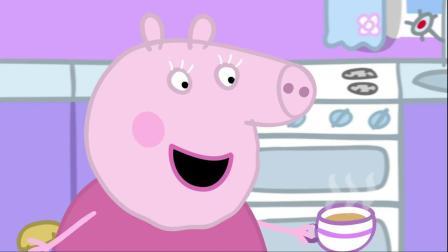 小猪佩奇:佩奇乔治吃蛋糕,嘴巴占了一圈巧克力,小孩子真可爱