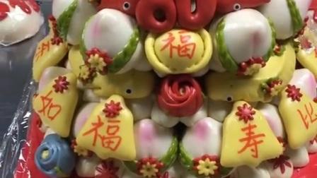 中式蛋糕大寿桃,老人生日过寿花饽饽