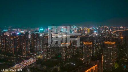开片网杭州延时摄影,滨江区航拍全景,绝美的城市夜景